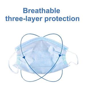 3-Layer Disposable Mask (50 Masks Per Box) - CleanVirus