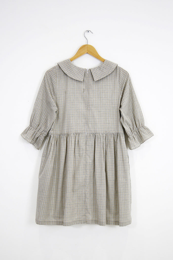 Clara check collar smock dress