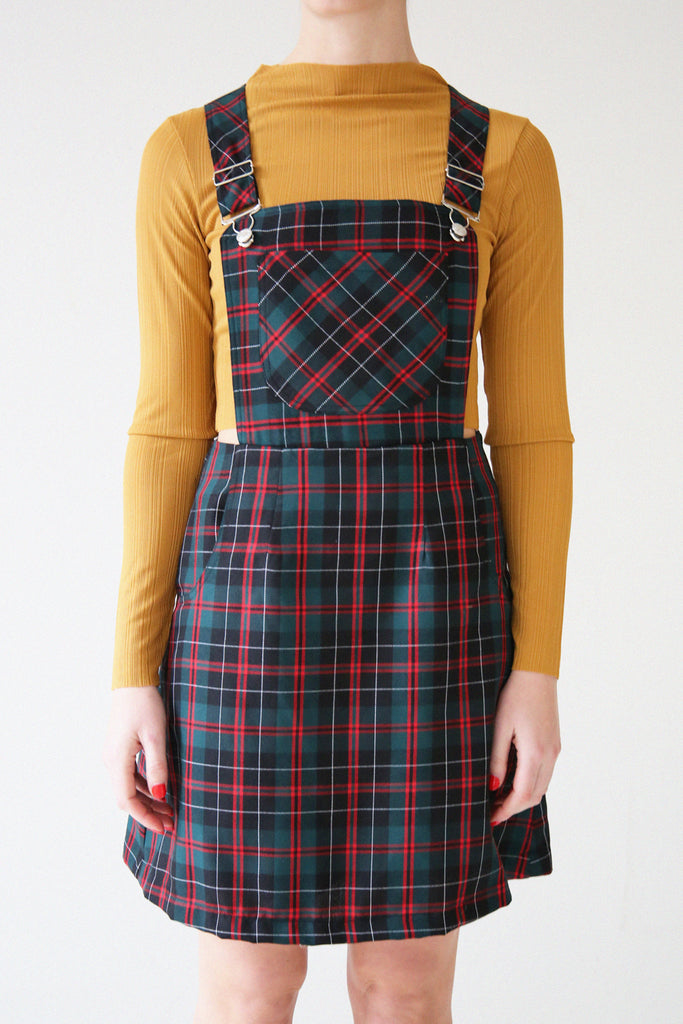 Ella Tartan Pinafore Dress- Black/red