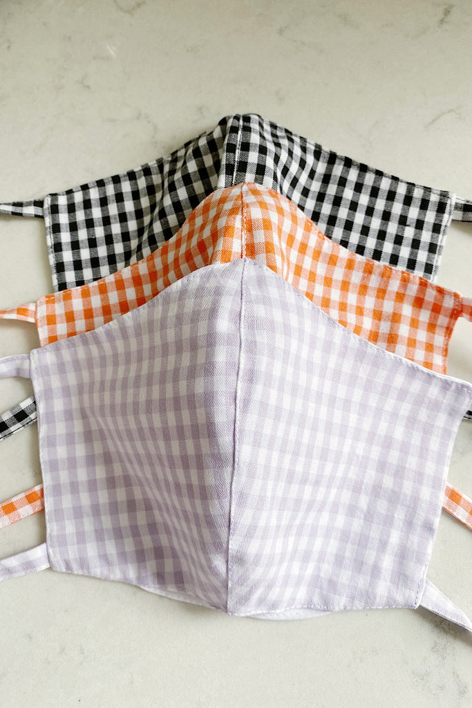 Double layered cotton gingham face mask with pocket- pack of 3