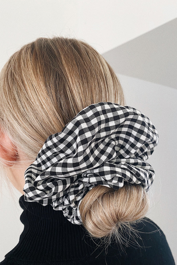 BIG handmade Scrunchie- Black gingham