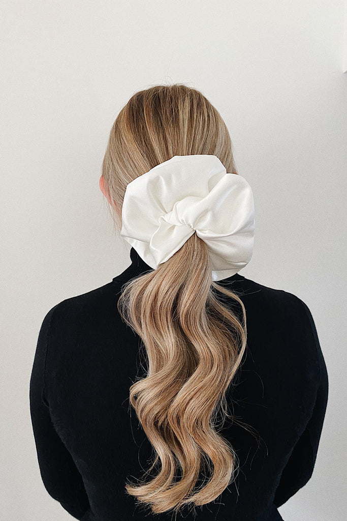 BIG Handmade Scrunchie- Ivory satin
