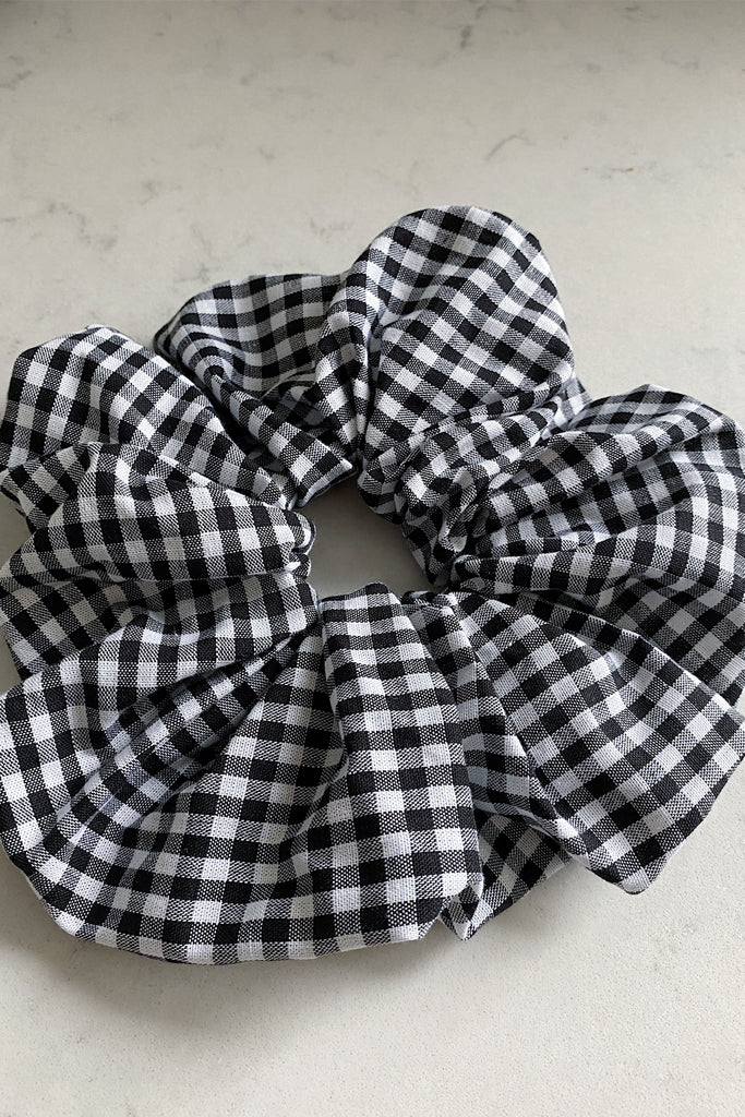 BIG Handmade Scrunchie-black and ivory satin set