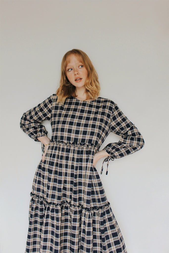 Dakota Tiered Ruffle Midi- Navy Plaid