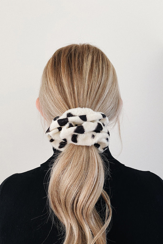 Small Handmade Scrunchie- Dalmatian faux fur