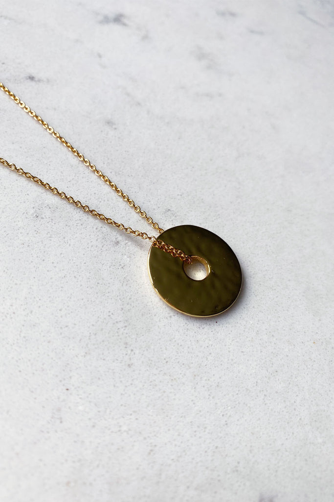 Gold Plated Hammered Disc Necklace