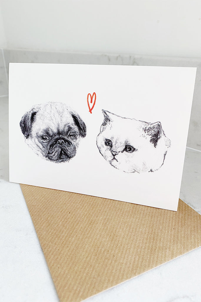Dog & Cat in Love Card