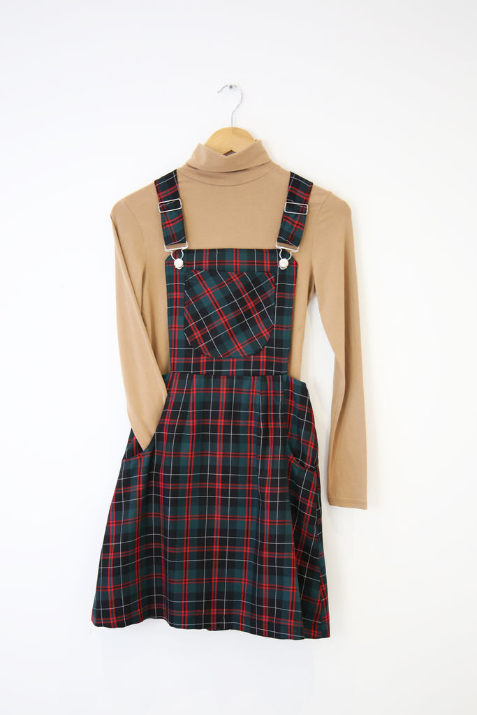 Ella Pinafore- Black/red tartan