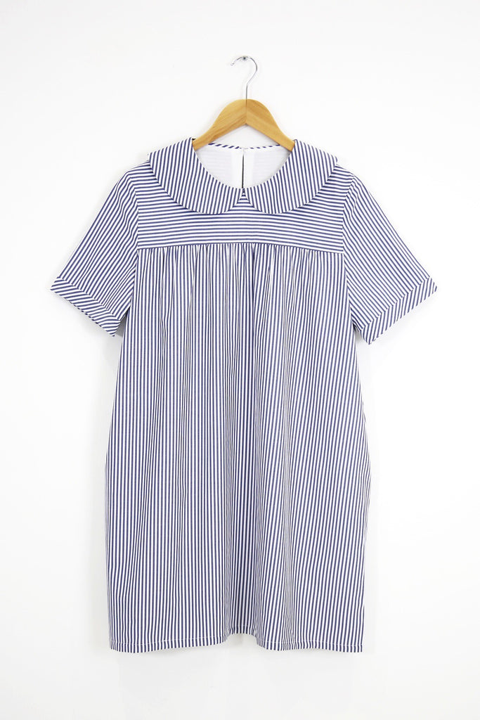 Ally Collar Babydoll- blue stripe