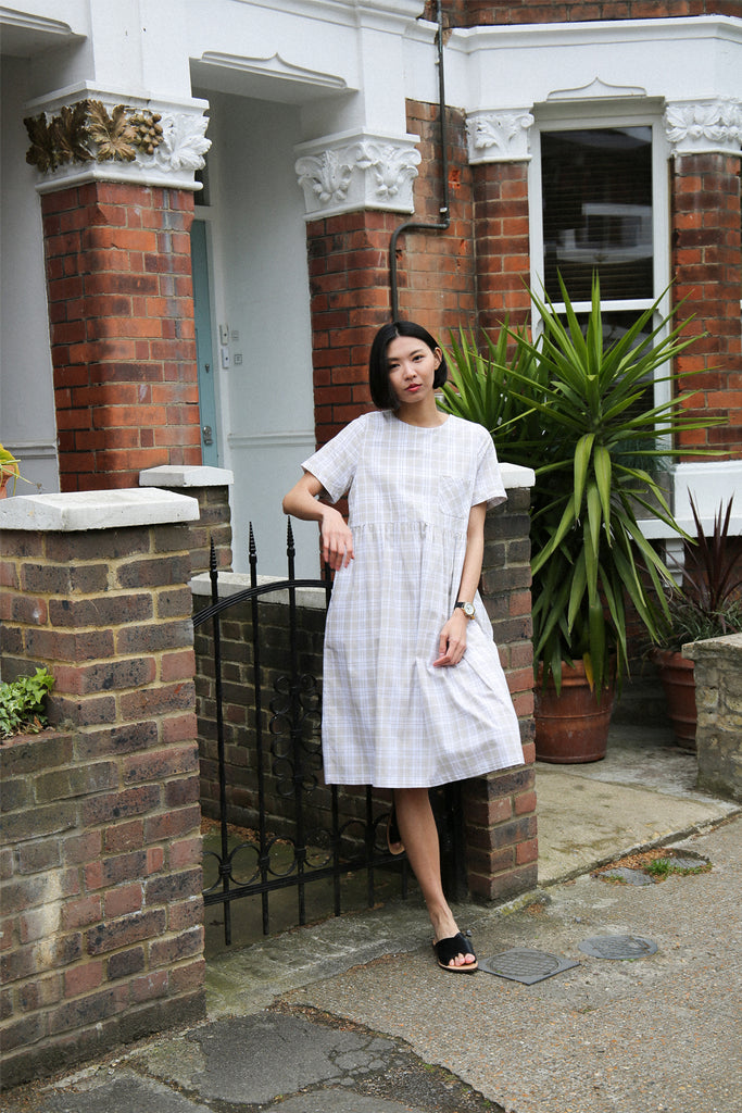 Juna Plaid Midi Smock- cream