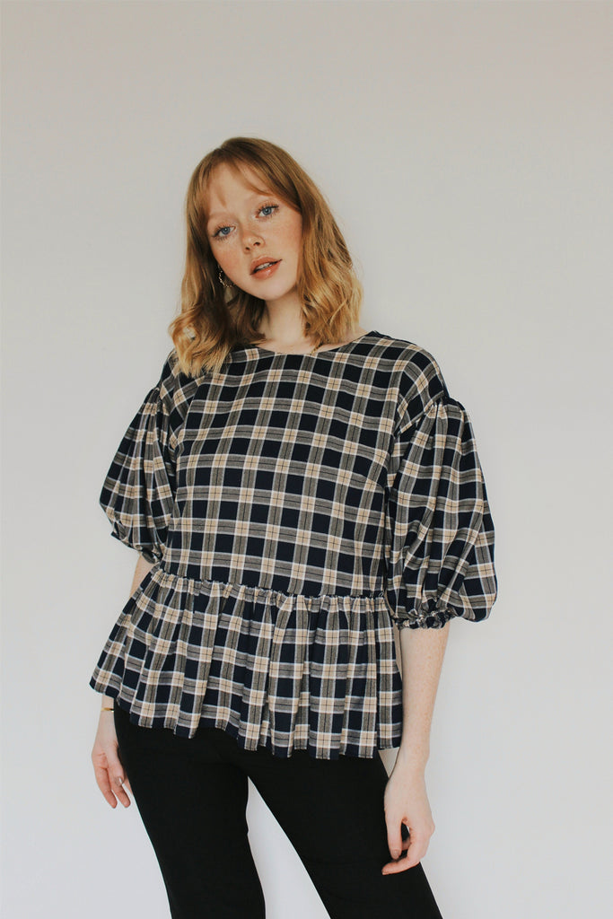 Laura Peplum Blouse- Navy Plaid