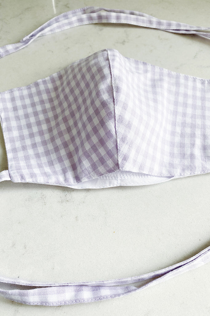 Double layered cotton gingham face mask with pocket- lilac