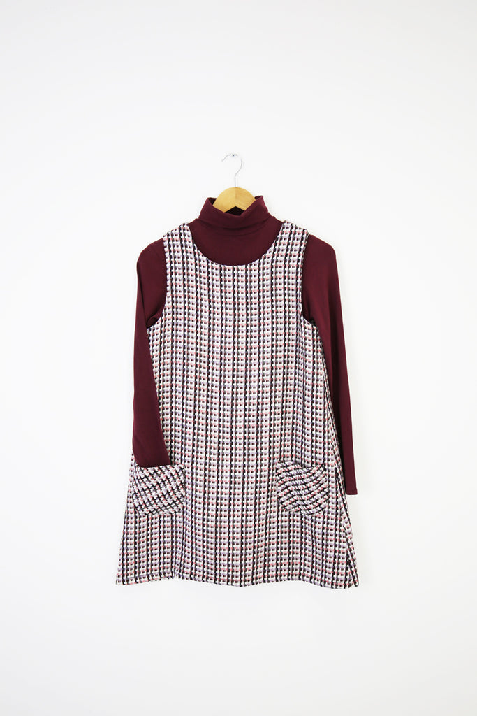 Lucy Pinafore- pink/purple tweed