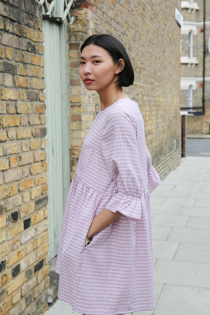 Luna pink gingham smock dress