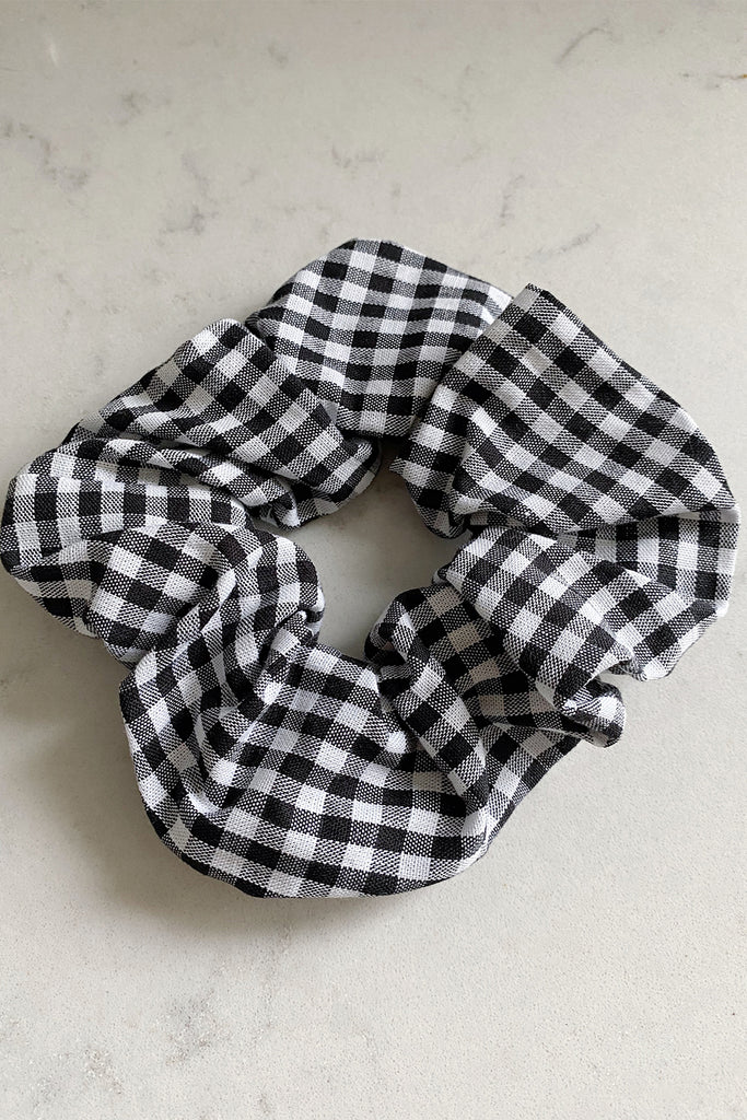 Small Handmade Scrunchie- black gingham