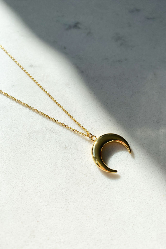 Gold Plated Crescent Moon Necklace