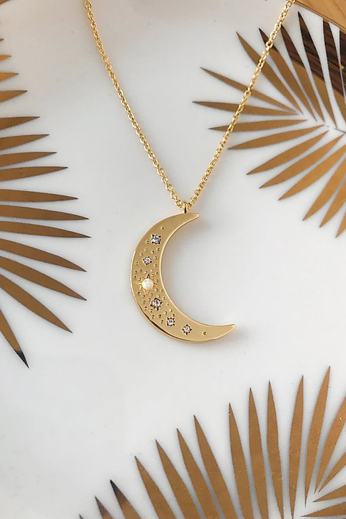 Gold Plated Opal Moon Necklace