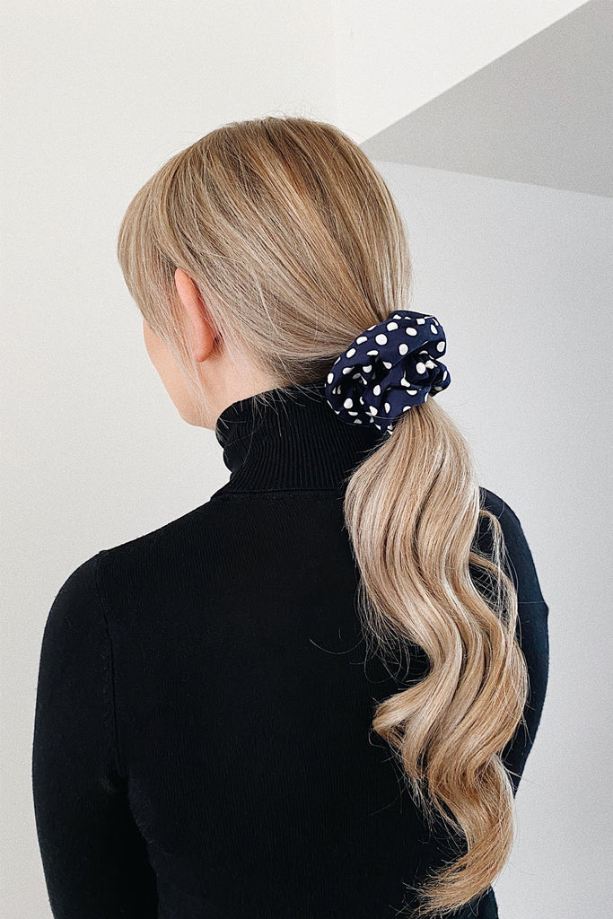 Small Handmade Scrunchie- Navy polka dot