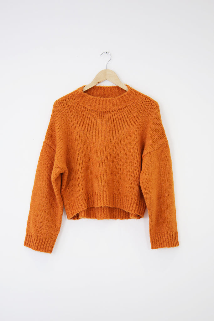 Orange cropped knit jumper