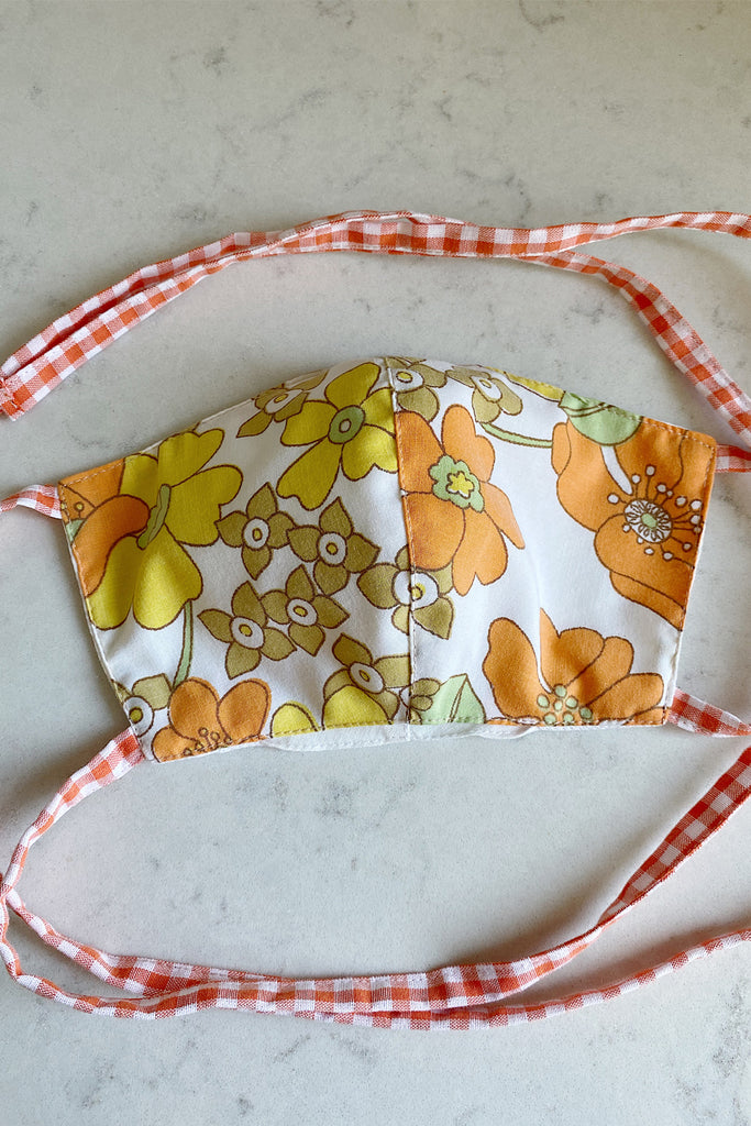 Double layered vintage cotton face mask with pocket- orange floral