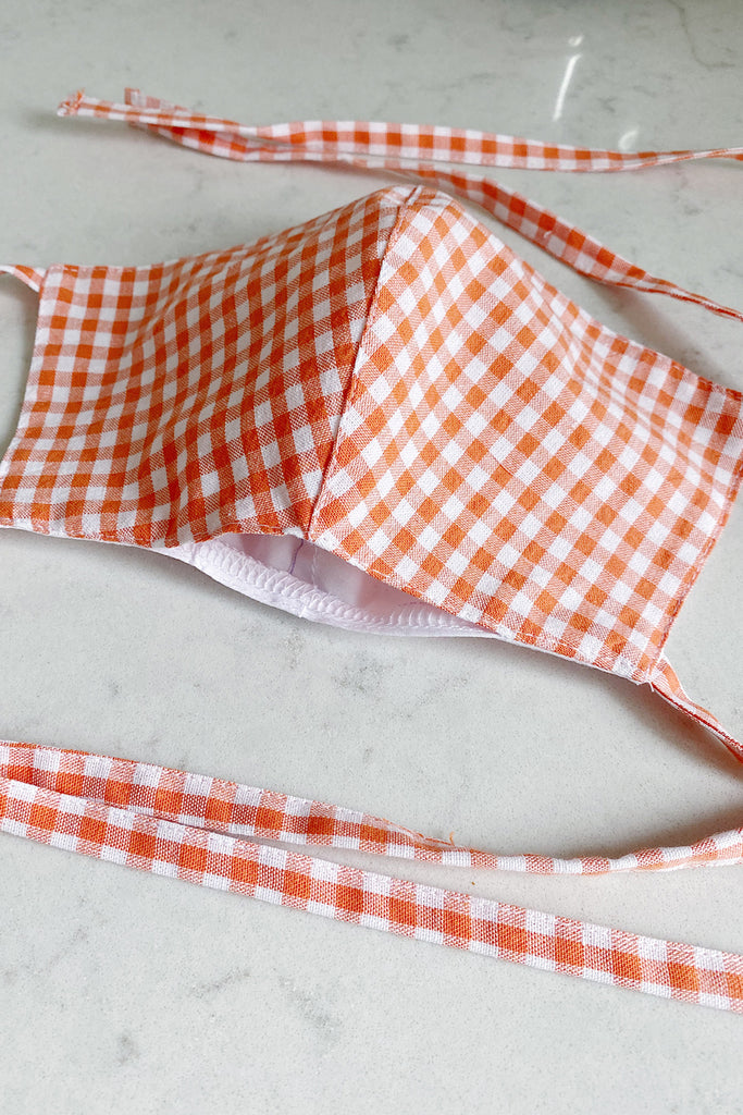 Double layered cotton gingham face mask with pocket- orange