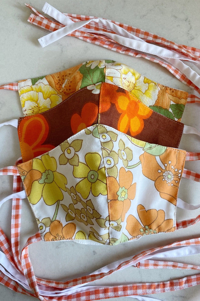 Double layered vintage cotton face mask with pocket- 3 orange