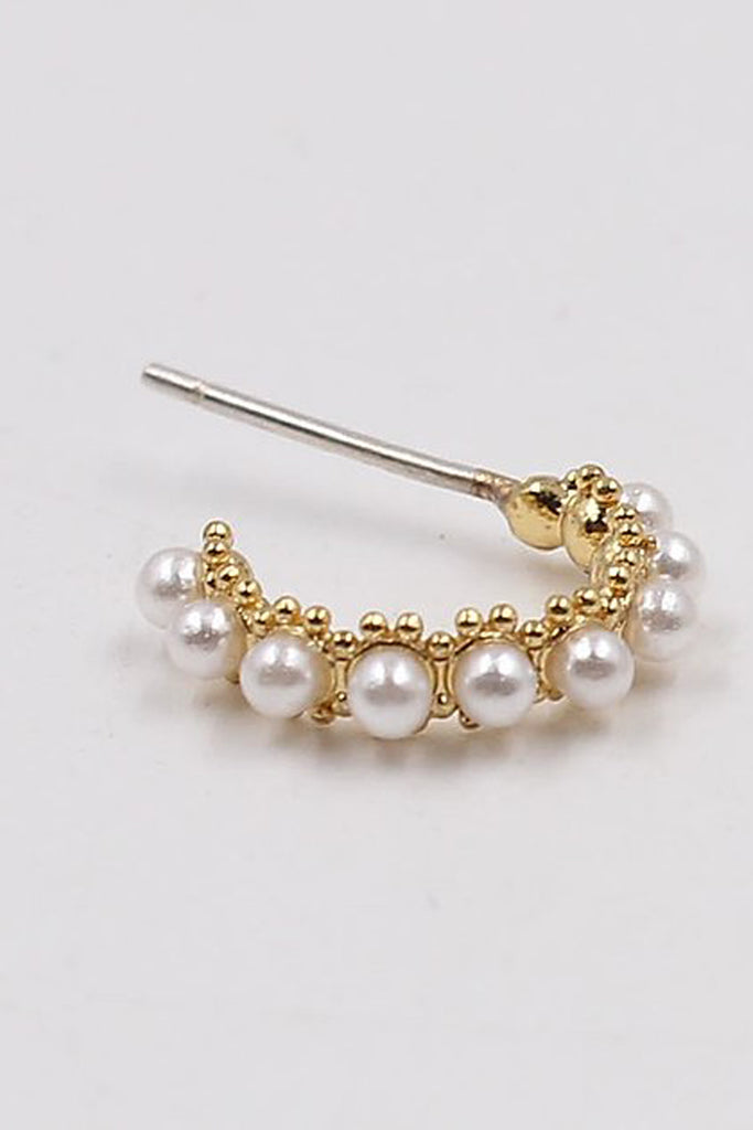 Sterling Silver Faux Pearl Huggies