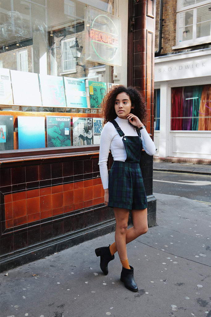 Polly Dungaree shorts- green tartan