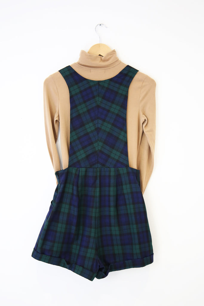 Polly Tartan Dungarees- green and navy