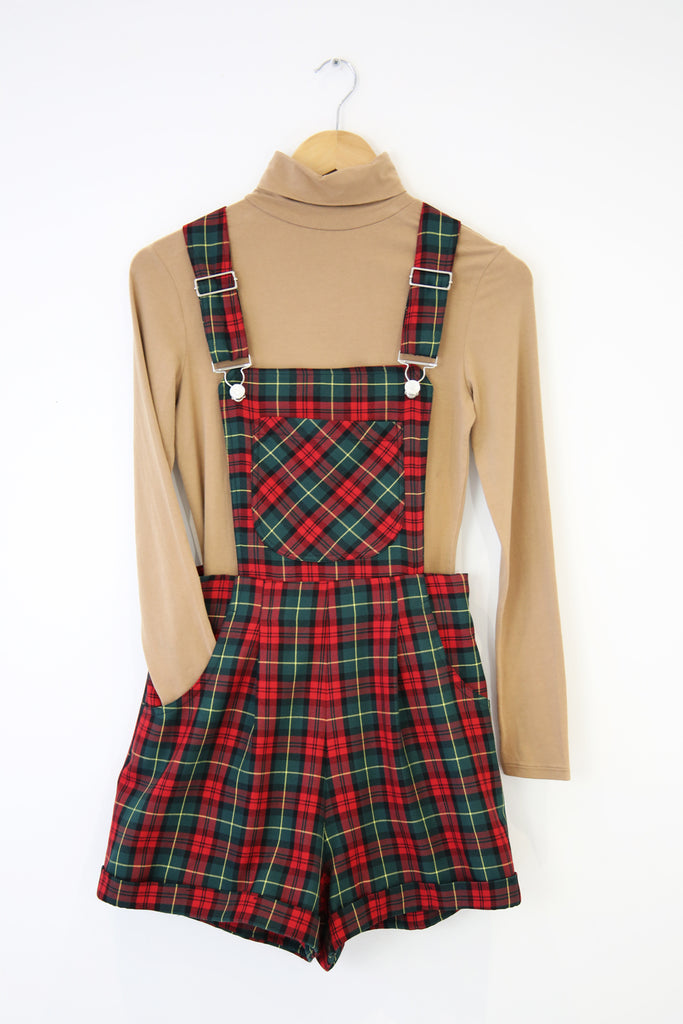 Polly Tartan Dungarees- Green and red