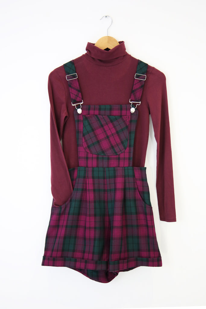 Polly Tartan Dungarees- purple and green