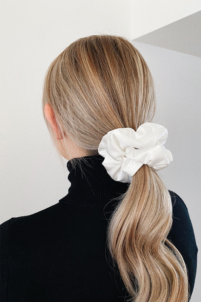 Small Handmade Scrunchie- Ivory satin