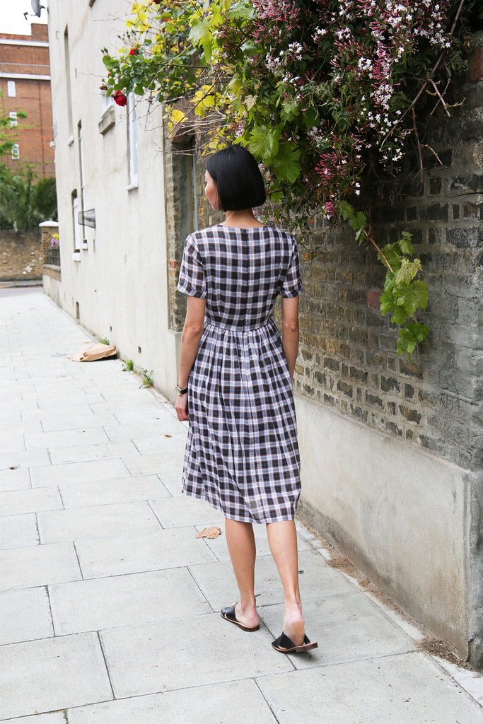 Sophia Midi Dress- Navy plaid