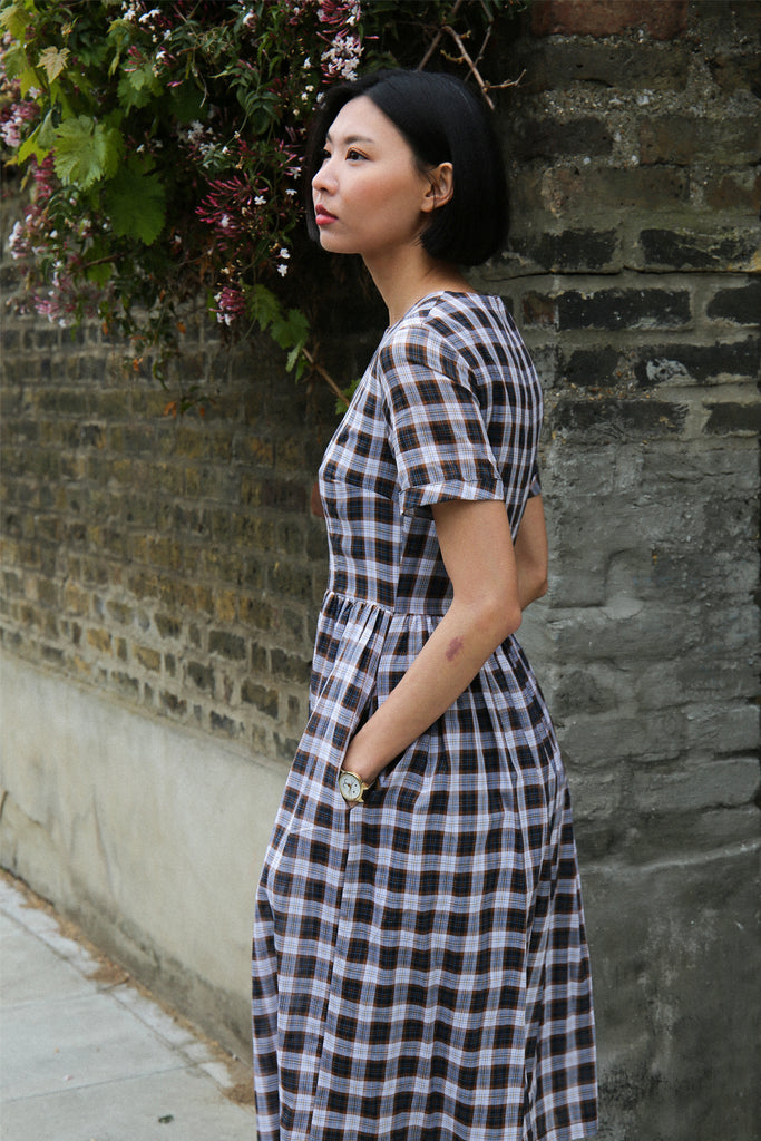 Sophia Plaid Midi Dress- Navy
