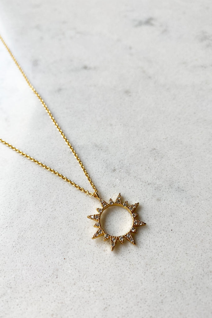 Gold Plated Cubic Zirconia Sunrise Necklace