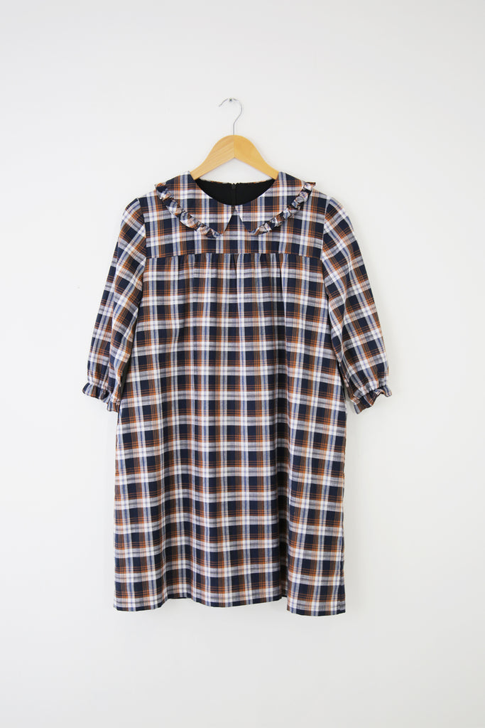 Tilly Ruffle Babydoll- Navy Plaid