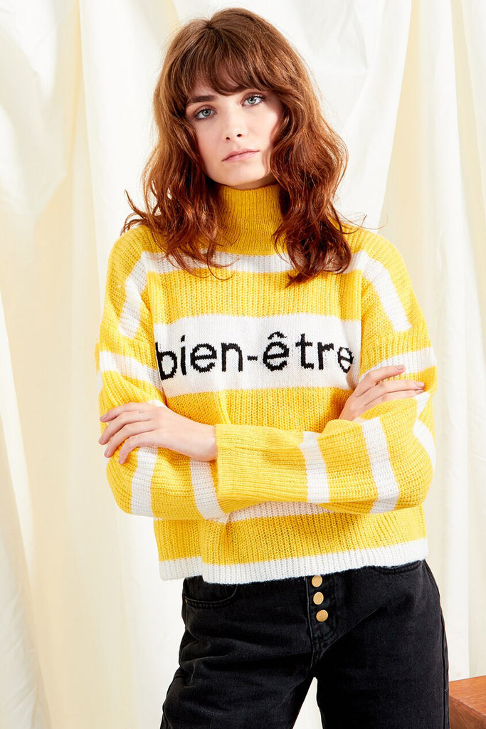 Yellow slogan knit jumper