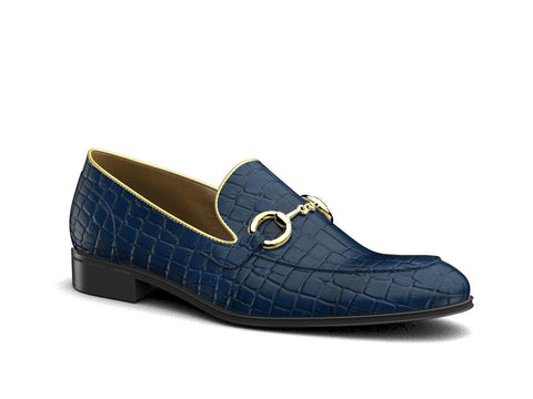 Gianni X Don Antelope Leather Blue And Gold Loafers - Shoes
