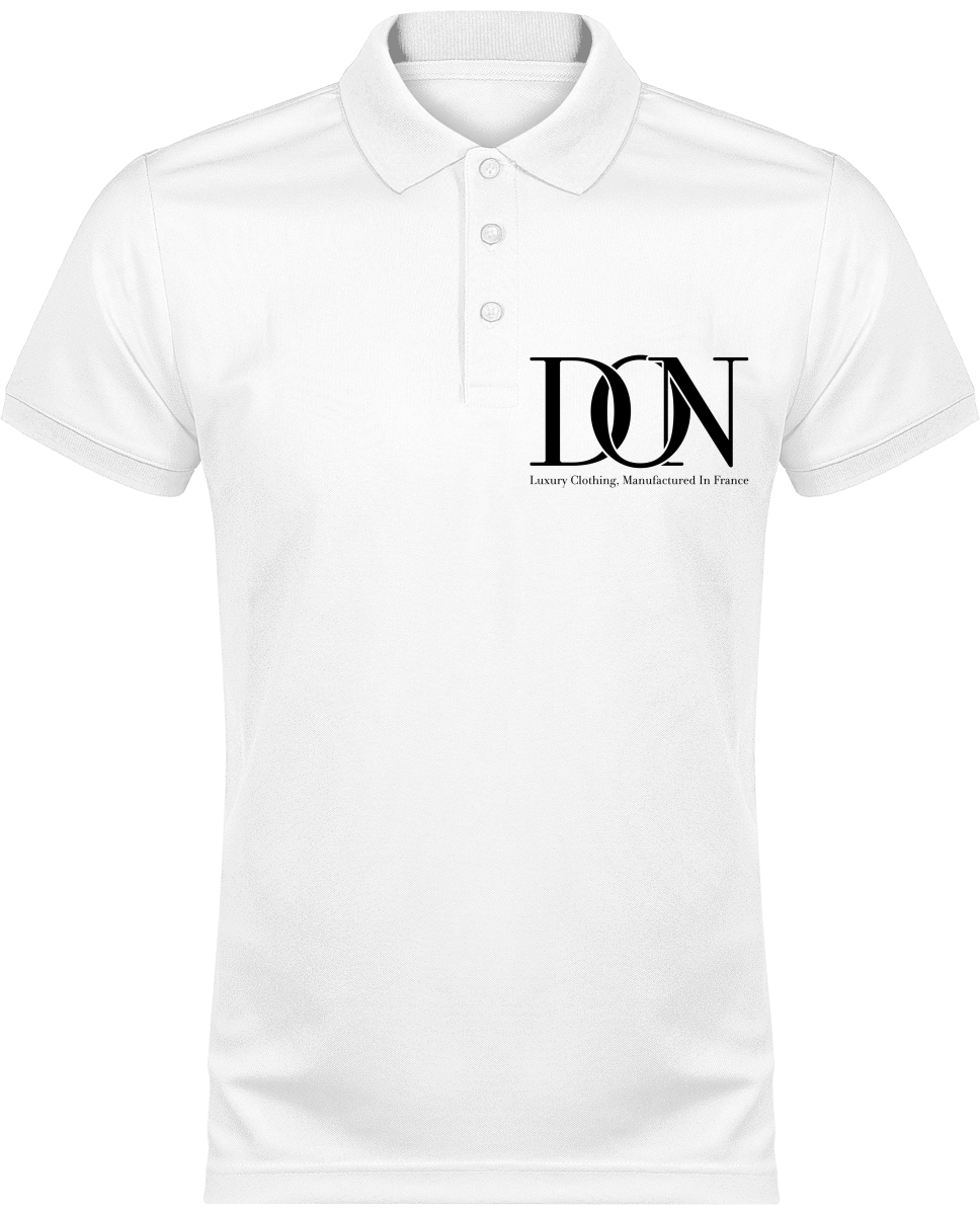 Mens Official Don Polo Piqué Signature Polo-Shirt - White / White / Xs - Homme>Vêtements De Sport