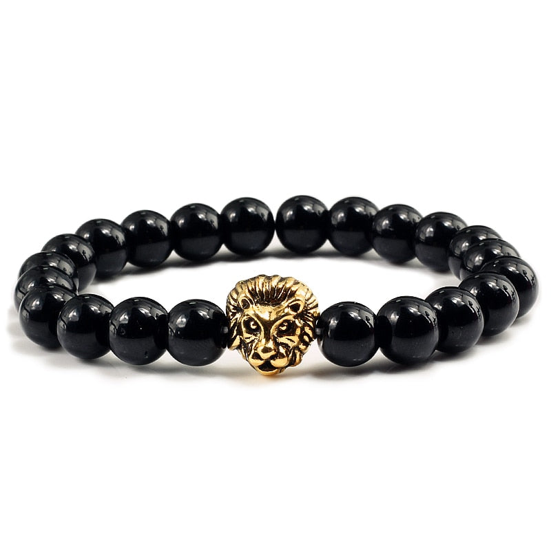 Black Lava Beaded Gold/Sliver Lion Bracelet