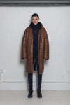 PADDED BROWN LEATHER COAT
