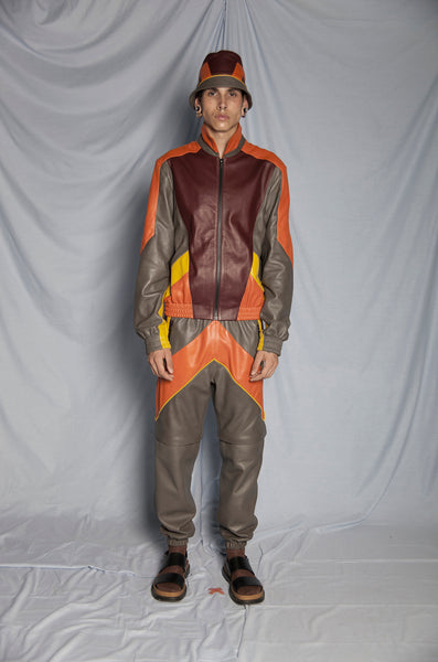 ORANGE LEATHER TRACKSUIT JACKET