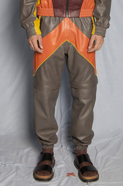 ORANGE LEATHER TRACKSUIT PANTS - DETACHABLE LEGS