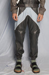 BLUE LEATHER TRACKSUIT PANTS - DETACHABLE LEGS