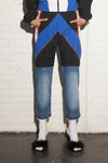 TRACKSUIT BOTTOM - BLACK WITH DENIM LEGS