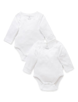 Suite Set x Purebaby Easy Neck Long Sleeve Body singlet pack
