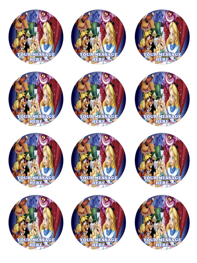Alice In Wonderland Edible Cupcake Toppers (12 Images) Cake Image Icing Sugar Sheet