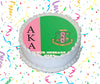 Alpha Kappa Alpha Edible Image Cake Topper Personalized Frosting Icing Sheet Custom Round