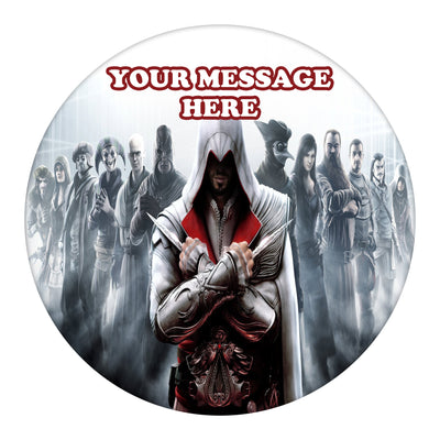 Assassin's Creed Edible Image Cake Topper Personalized Birthday Sheet Custom Frosting Round Circle
