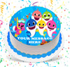 Baby Shark Edible Image Cake Topper Personalized Birthday Sheet Custom Frosting Round Circle